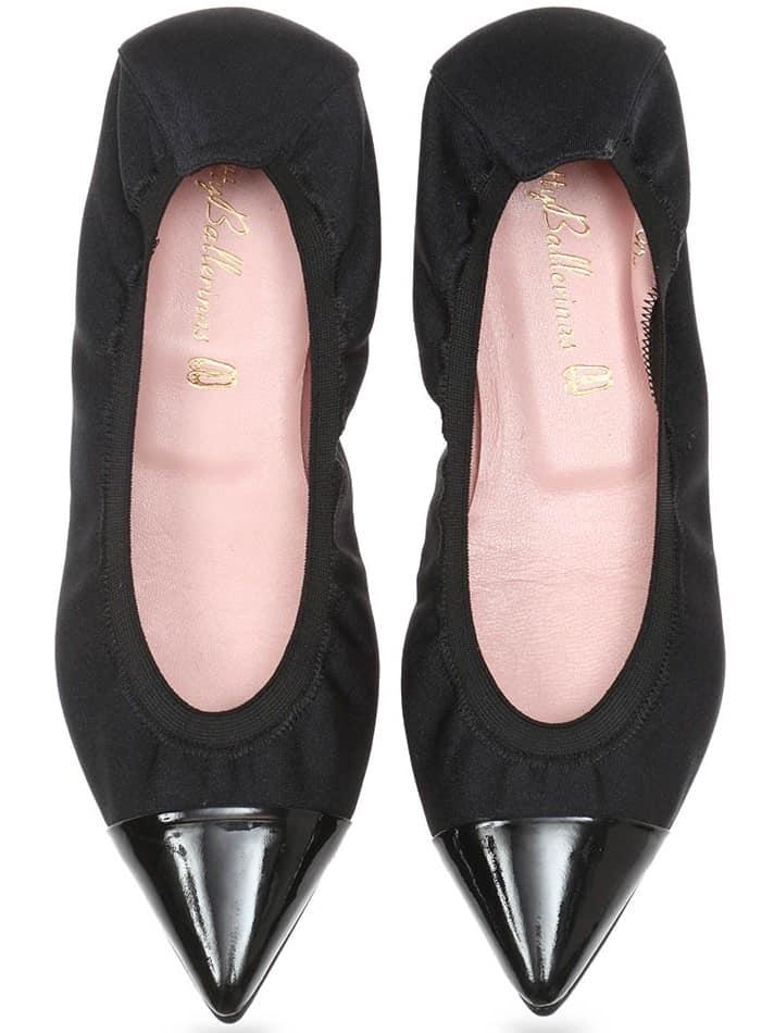Queen Satin Shirly|שחור|נעלי בובה|נעלי בלרינה|נעליים שטוחות|נעליים נוחות|ballerinas