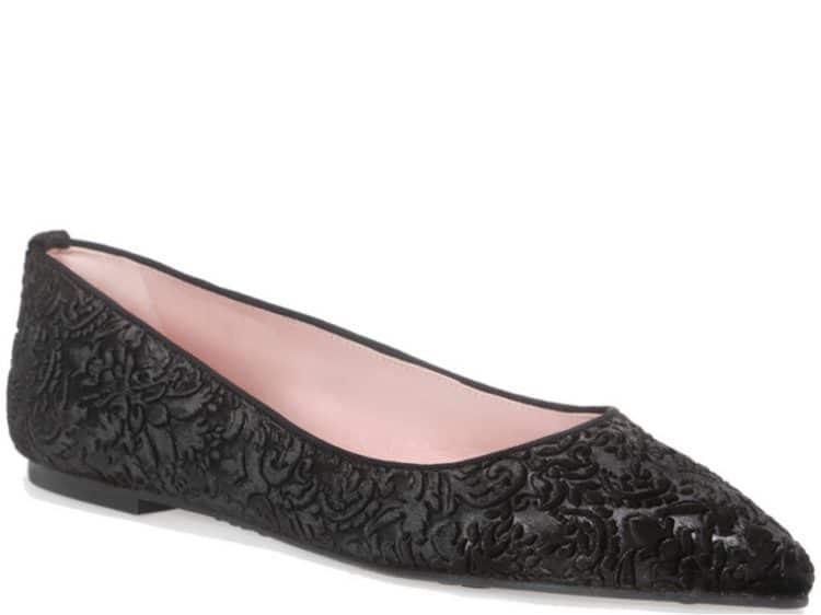 Black Brocade Ballerina שחור נעלי בובה נעלי בלרינה נעליים שטוחות נעליים נוחות ballerinas