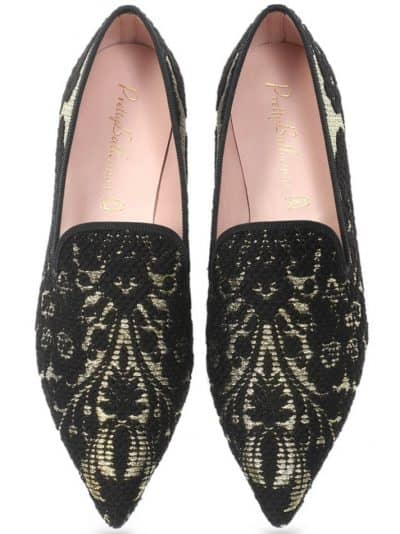 Royal Brocade|שחור|זהב|נעלי בובה|נעלי בלרינה|נעליים שטוחות|נעליים נוחות|ballerinas