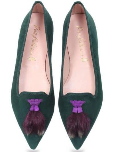 Green and Fur|ירוק|סגול|נעלי בובה|נעלי בלרינה|נעליים שטוחות|נעליים נוחות|ballerinas