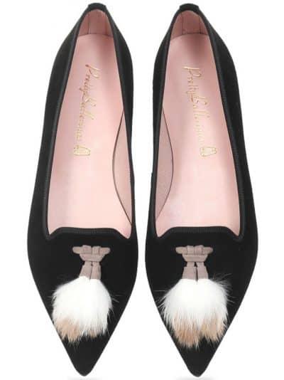 Black and Fur|שחור|נעלי בובה|נעלי בלרינה|נעליים שטוחות|נעליים נוחות|ballerinas