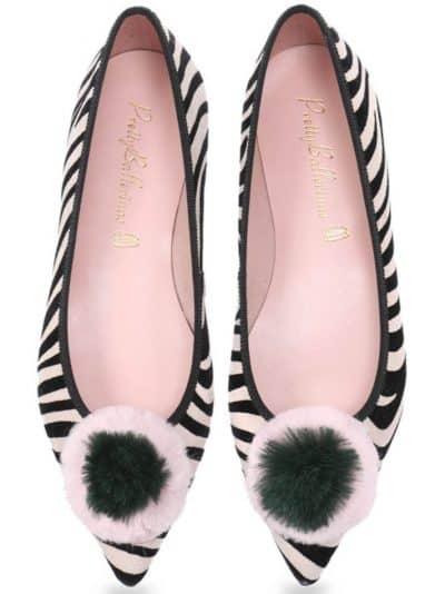 Zebra Pon Pon|שחור|לבן|ירוק|נעלי בובה|נעלי בלרינה|נעליים שטוחות|נעליים נוחות|ballerinas