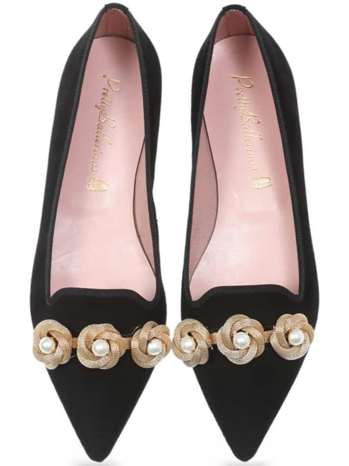 Flowers and Pearls|שחור|נעלי בובה|נעלי בלרינה|נעליים שטוחות|נעליים נוחות|ballerinas