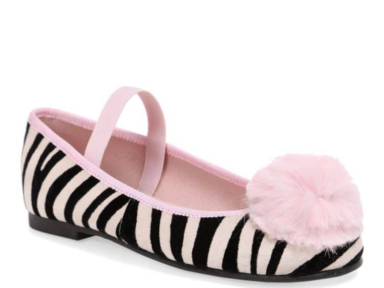 Pink Zebra|שחור|לבן|ורוד|ילדות| בלרינה|נעלי בלרינה לילדות|נעלי בלרינה