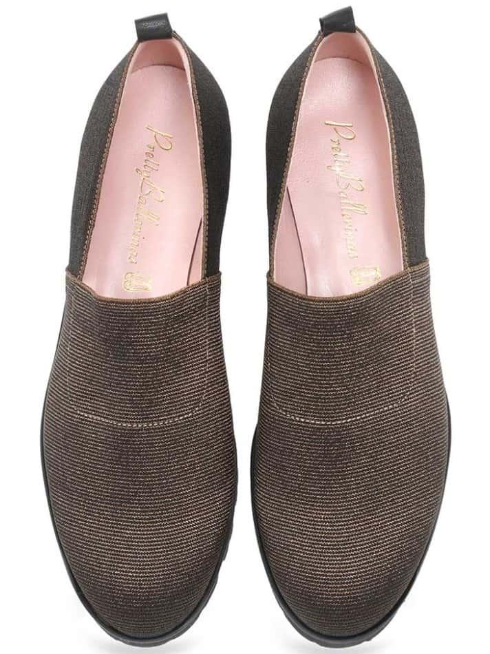 Striped Party|זהב|חום|שחור|נעלי בובה|נעלי בלרינה|נעליים שטוחות|נעלי פלטפורמה|ballerinas
