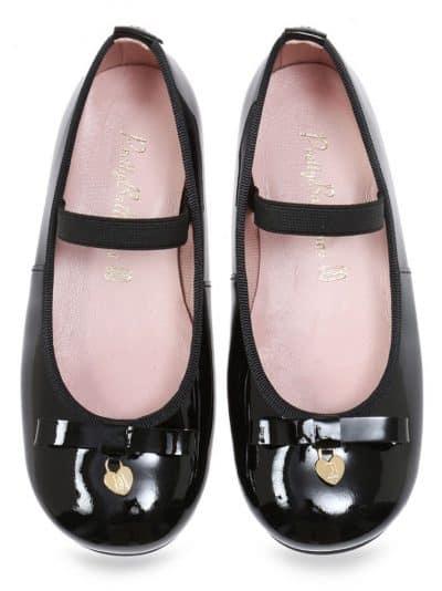 Black Bunny|שחור|ילדות| בלרינה|נעלי בלרינה לילדות|נעלי בלרינה