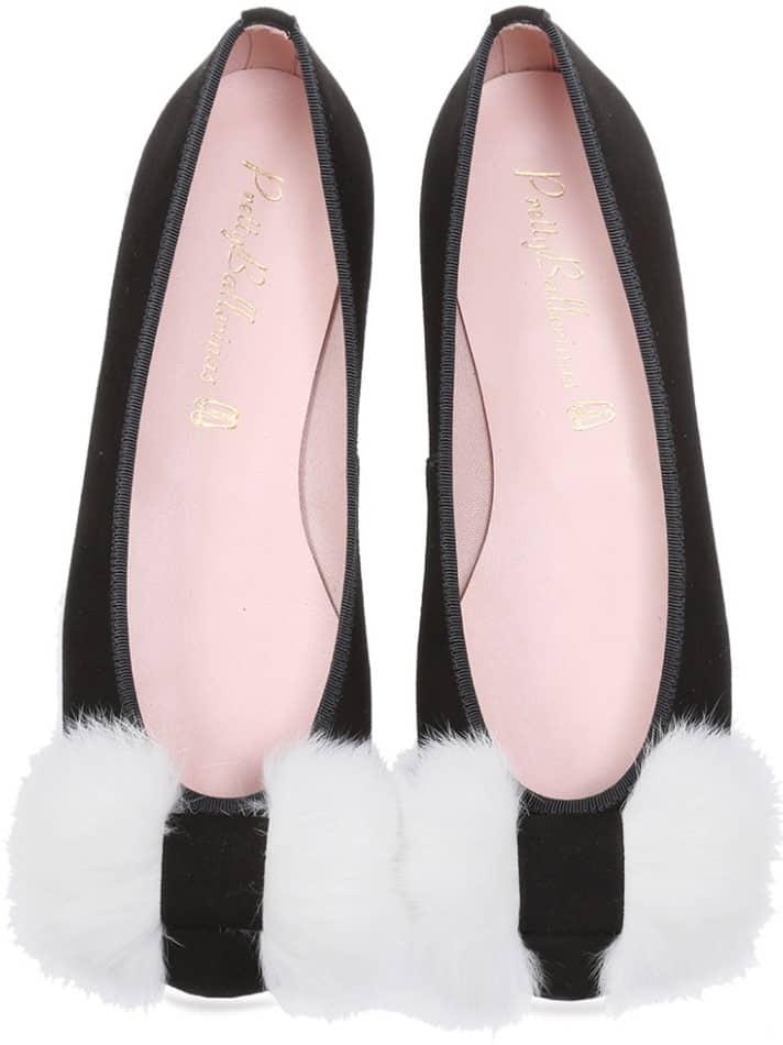Monochrome שחור אפור נעלי בובה נעלי בלרינה נעליים שטוחות נעליים נוחות ballerinas
