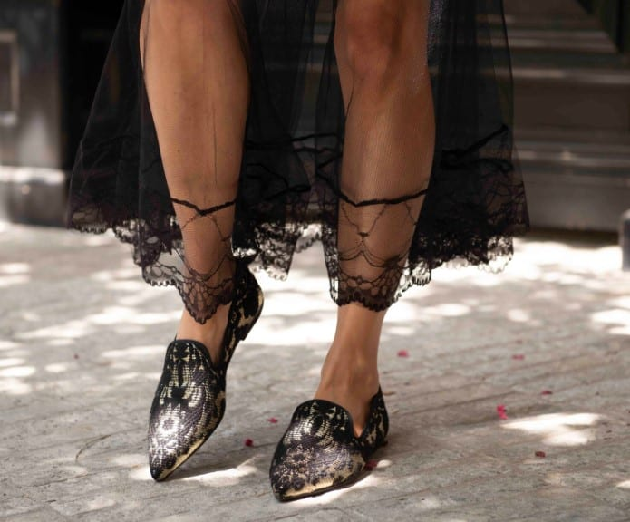 Black shoes with decorations