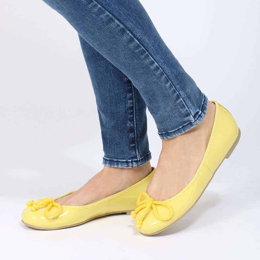 Sunny Rosario|צהוב|נעלי בובה|נעלי בלרינה|נעליים שטוחות|נעליים נוחות|ballerinas
