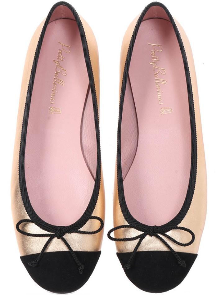 Vivian|שחור|זהב|נעלי בובה|נעלי בלרינה|נעליים שטוחות|נעליים נוחות|ballerinas