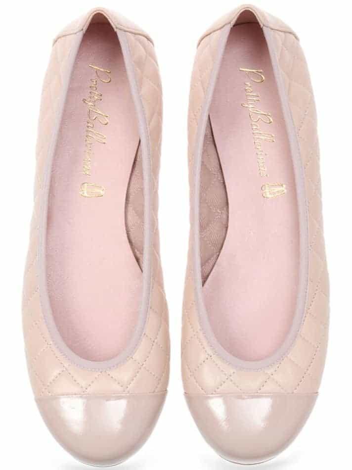 Pink Quilt|ורוד|זהב|נעלי בובה|נעלי בלרינה|נעליים שטוחות|נעליים נוחות|ballerinas