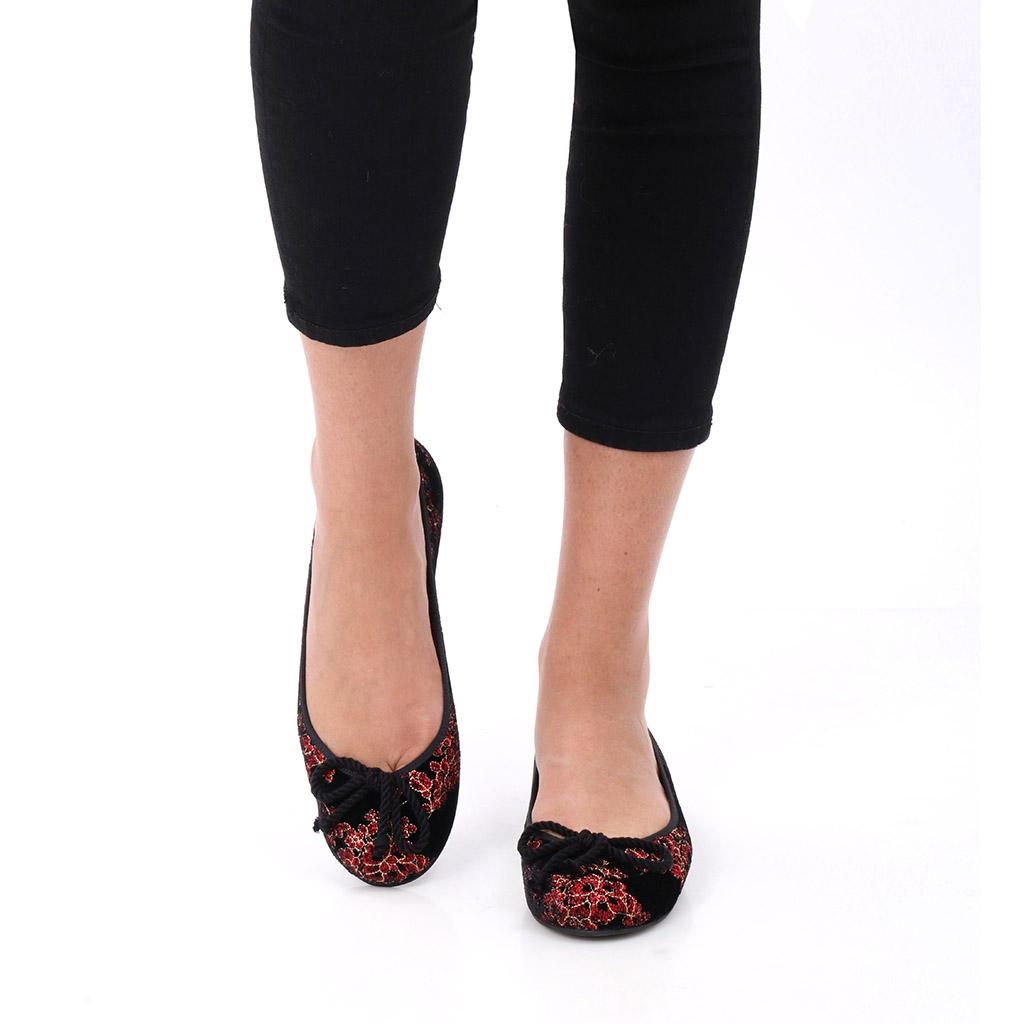 Ximena שחור אדום זהב נעלי בובה נעלי בלרינה נעליים שטוחות נעליים נוחות ballerinas