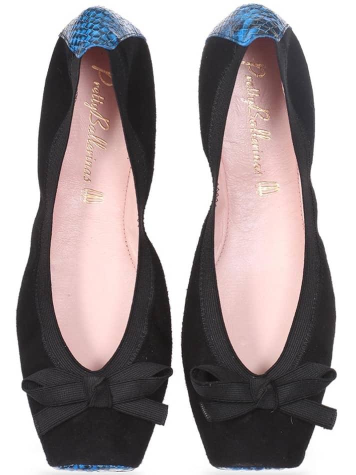 Black And Blue|כחול|שחור|נעלי בובה|נעלי בלרינה|נעליים שטוחות|נעליים נוחות|ballerinas