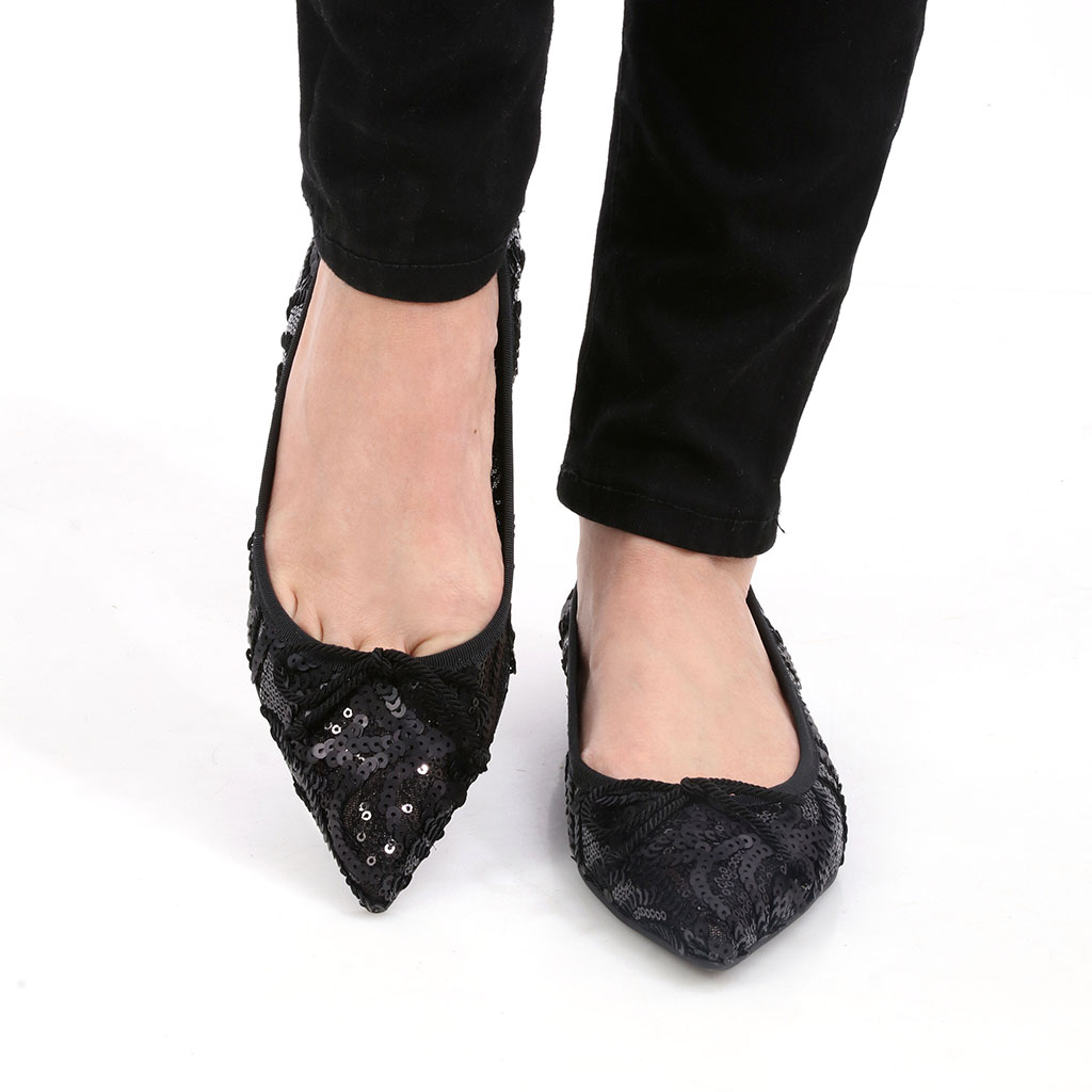 Lizeth|שחור|נעלי בובה|נעלי בלרינה|נעליים שטוחות|נעליים נוחות|ballerinas