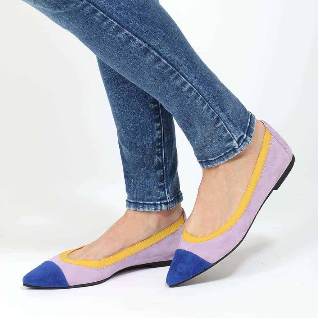 Lilak Style כחול סגול נעלי בובה נעלי בלרינה נעליים שטוחות נעליים נוחות ballerinas