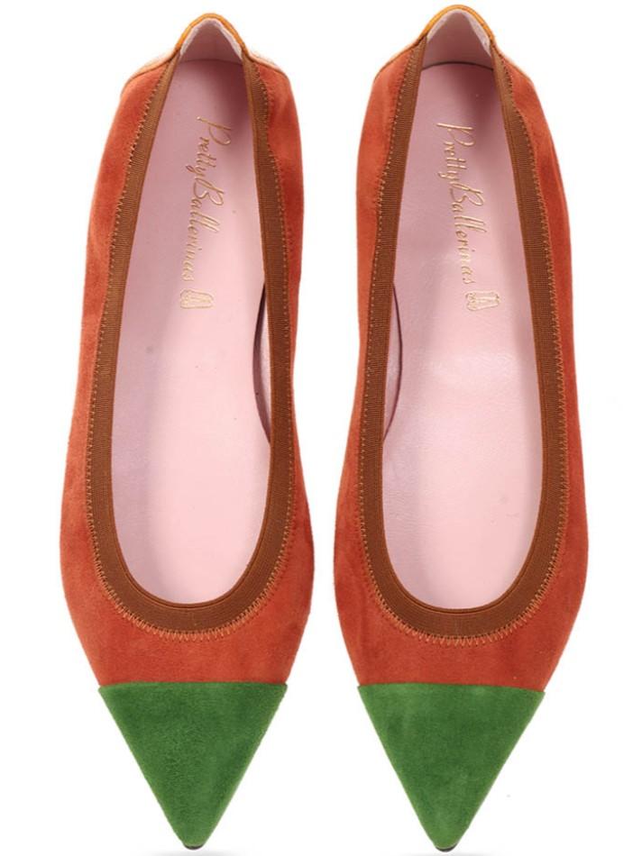 Alexis|ירוק|חום|נעלי בובה|נעלי בלרינה|נעליים שטוחות|נעליים נוחות|ballerinas