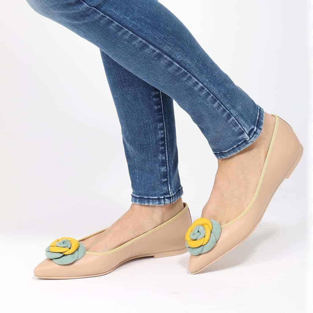 Pistachio Flowers|חום|ניוד|ירוק|נעלי בובה|נעלי בלרינה|נעליים שטוחות|נעליים נוחות|ballerinas