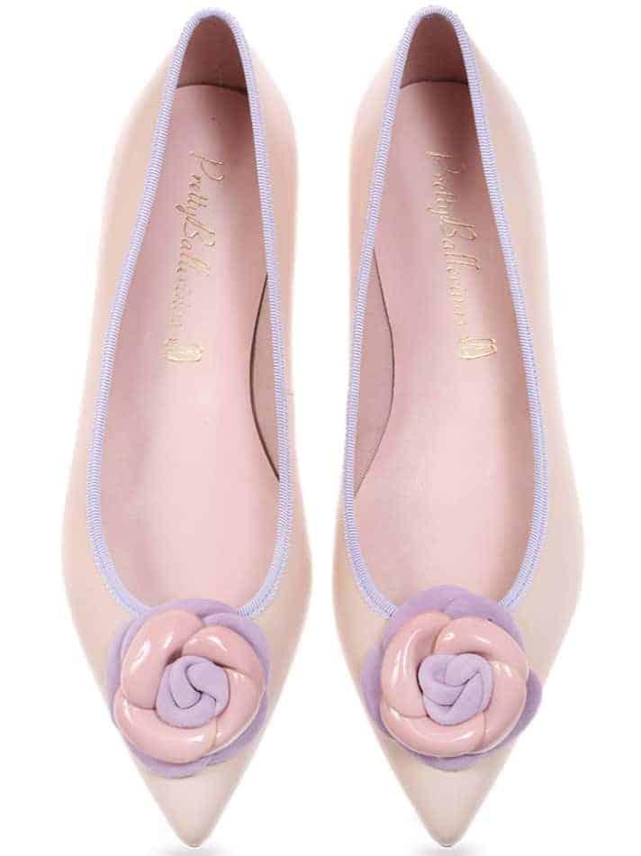 Cardamon Flowers|זהב|סגול|נעלי בובה|נעלי בלרינה|נעליים שטוחות|נעליים נוחות|ballerinas