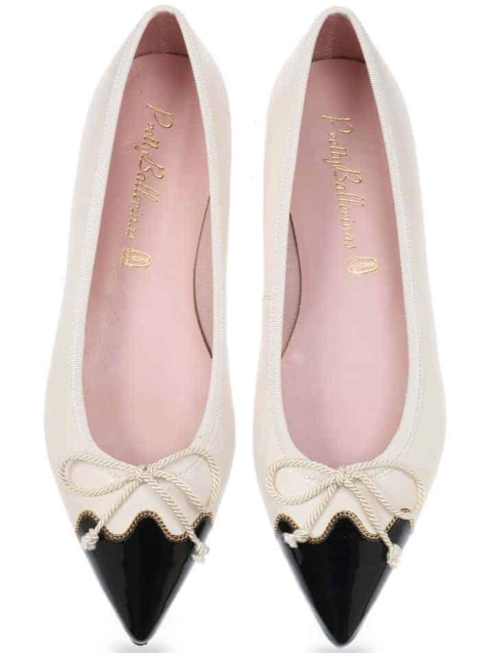 Chain Night|כחול|לבן|נעלי בובה|נעלי בלרינה|נעליים שטוחות|נעליים נוחות|ballerinas