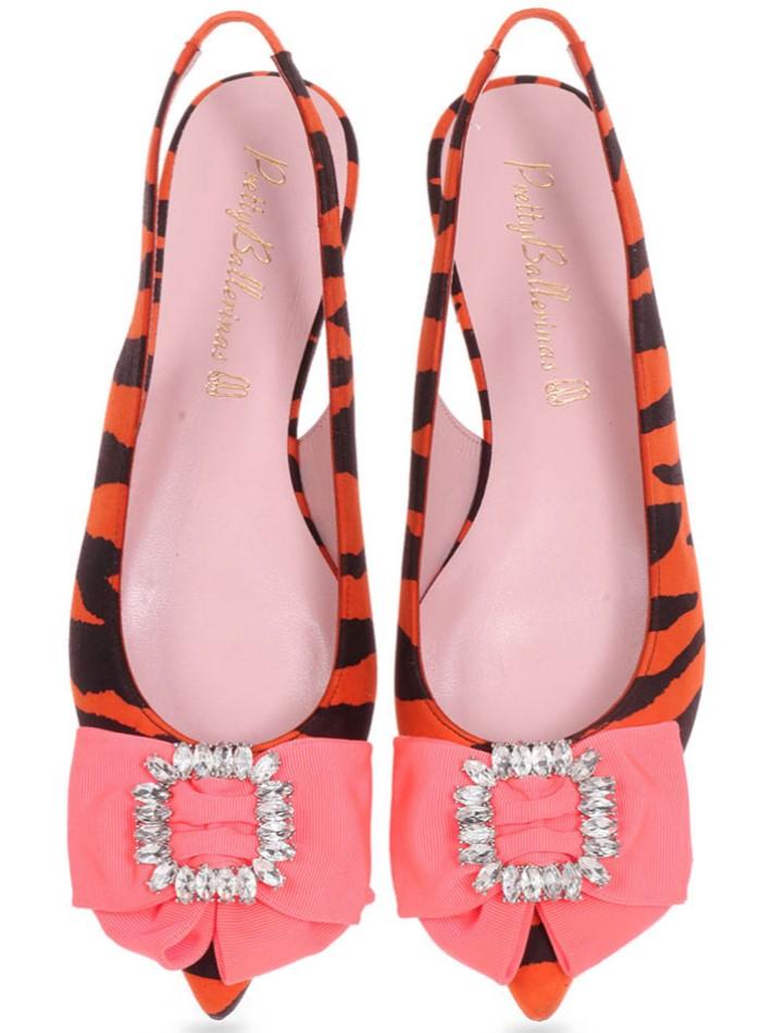 Brynlee|כתום|שחור|נעלי בובה|נעלי בלרינה|נעליים שטוחות|נעליים נוחות|ballerinas