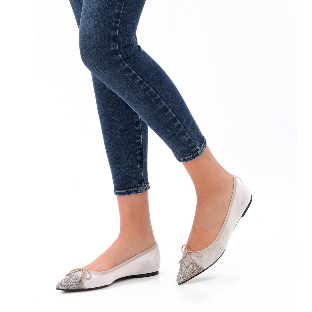 Sierra כסף פנינה נעלי בובה נעלי בלרינה נעליים שטוחות נעליים נוחות ballerinas