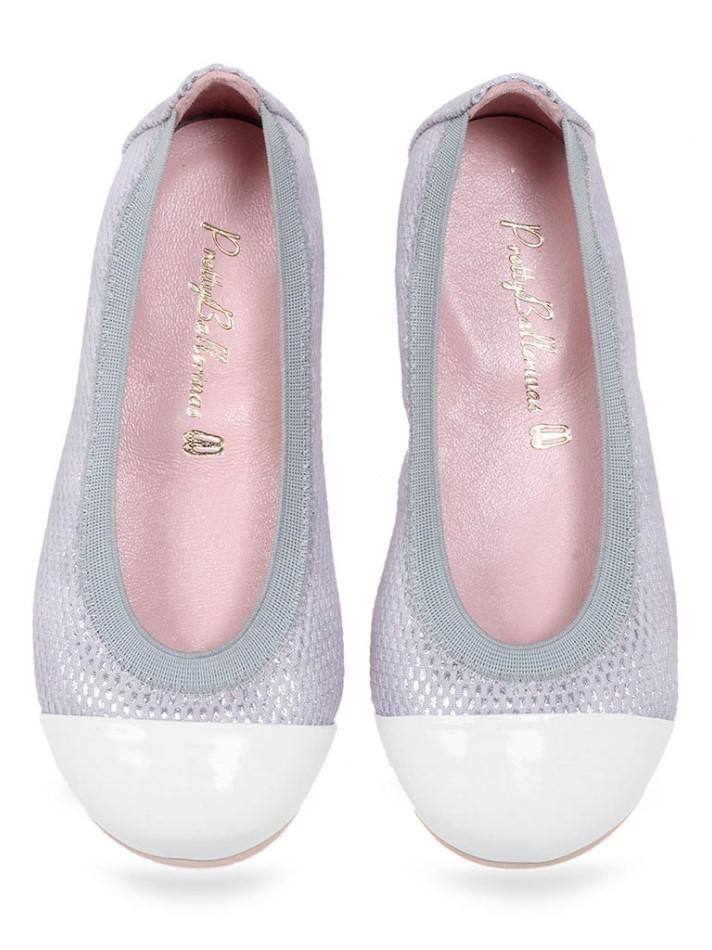 Akari|לבן|אפור|כסף|ילדות| בלרינה|נעלי בלרינה לילדות|נעלי בלרינה
