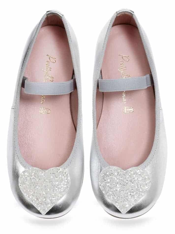 White Hearts|כסף|לבן|ילדות| בלרינה|נעלי בלרינה לילדות|נעלי בלרינה