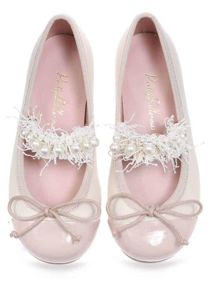 Strawberry Milkshake ורוד לבן ילדות  בלרינה נעלי בלרינה לילדות נעלי בלרינה
