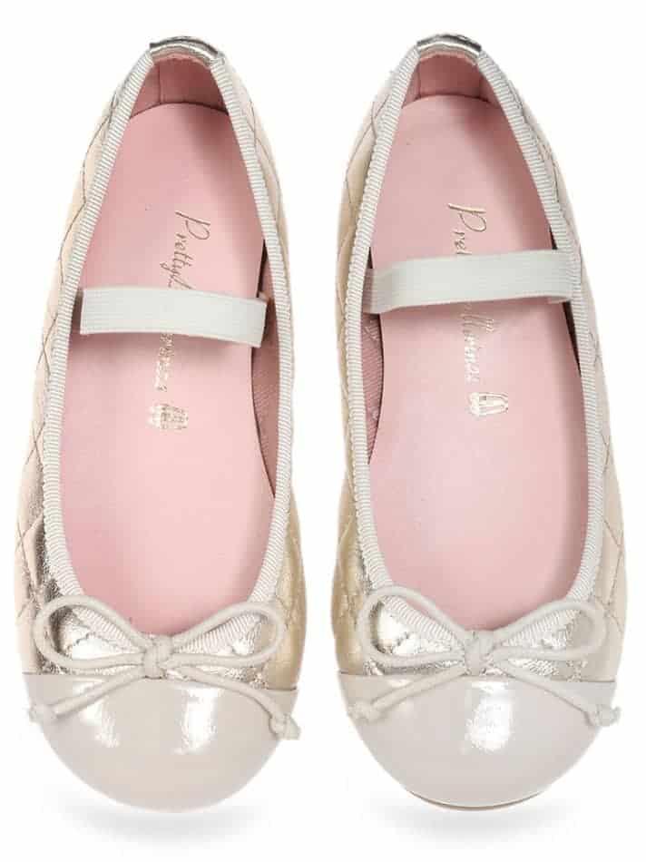 Morena|לבן|זהב|ילדות| בלרינה|נעלי בלרינה לילדות|נעלי בלרינה