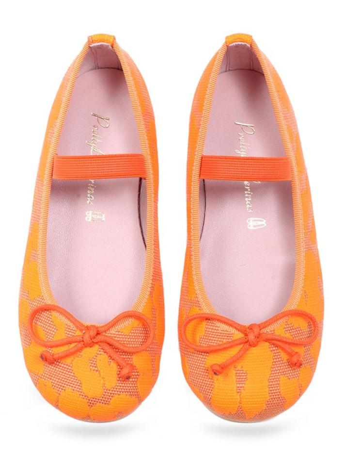 Chika|כתום|ילדות| בלרינה|נעלי בלרינה לילדות|נעלי בלרינה