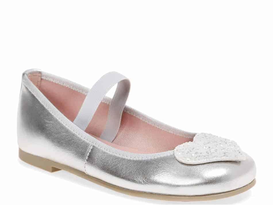 White Hearts כסף לבן ילדות  בלרינה נעלי בלרינה לילדות נעלי בלרינה