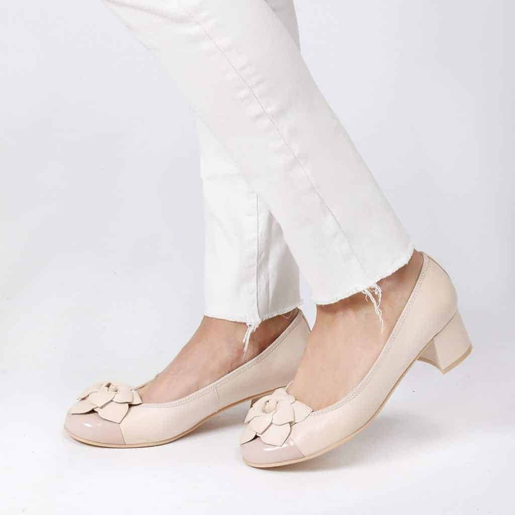 Delice Flower ורוד לבן ניוד עקב נעלי עקב Heels