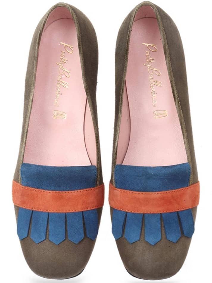 Pyramid|ניוד|חום|כחול|נעלי בובה|נעלי בלרינה|נעליים שטוחות|נעליים נוחות|ballerinas