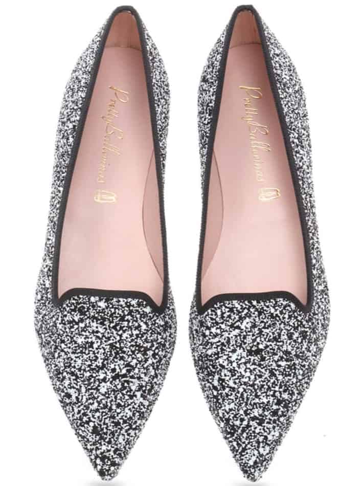 Sparkling silver loafers shoes