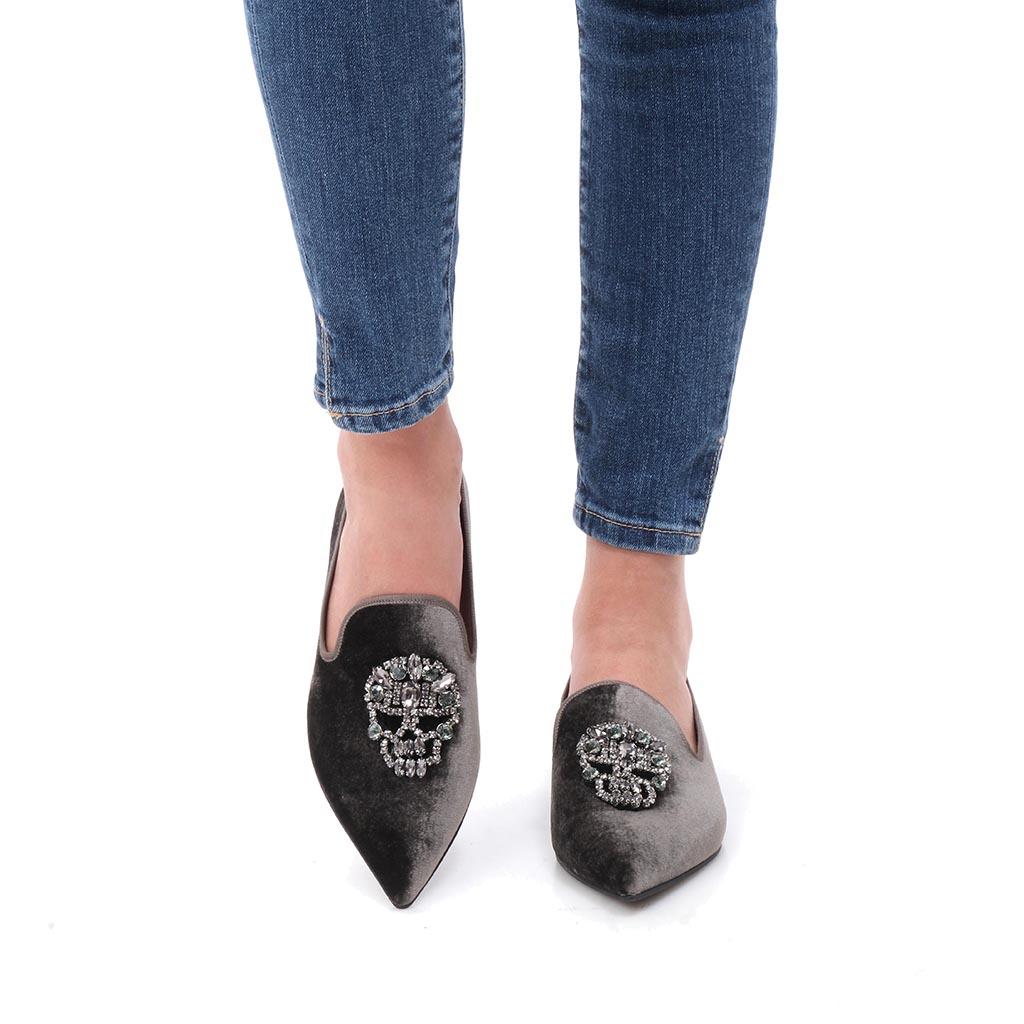 Londyn|אפור|נעלי בובה|נעלי בלרינה|נעליים שטוחות|נעליים נוחות|ballerinas