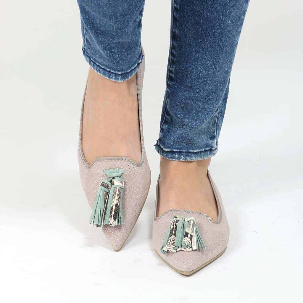 Rain Vibe אפור כסף ירוק נעלי בובה נעלי בלרינה נעליים שטוחות נעליים נוחות ballerinas