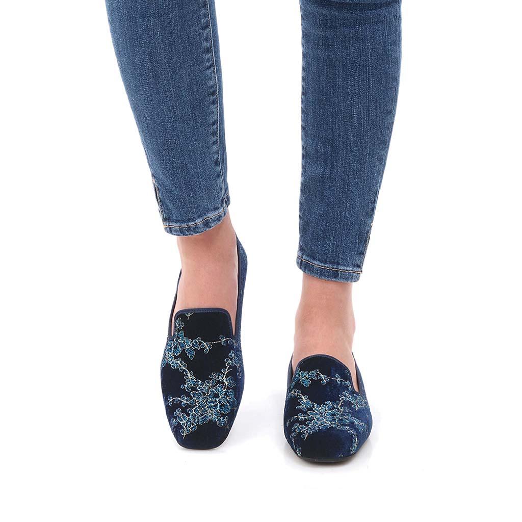 Joanna|כחול|תכלת|זהב|נעלי בובה|נעלי בלרינה|נעליים שטוחות|נעליים נוחות|ballerinas