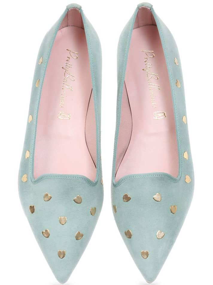 Wishing Heart|ירוק|נעלי בובה|נעלי בלרינה|נעליים שטוחות|נעליים נוחות|ballerinas