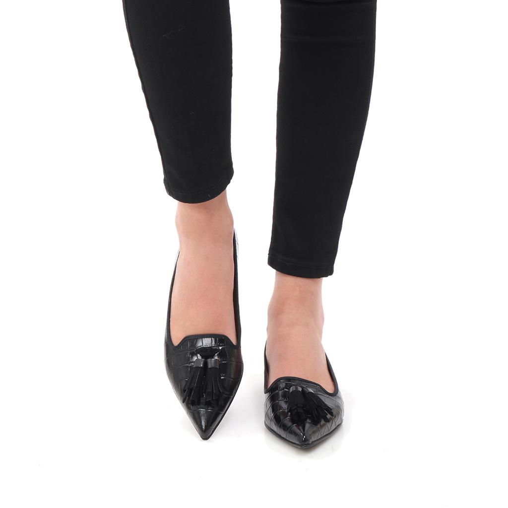 Raelyn|שחור|נעלי בובה|נעלי בלרינה|נעליים שטוחות|נעליים נוחות|ballerinas