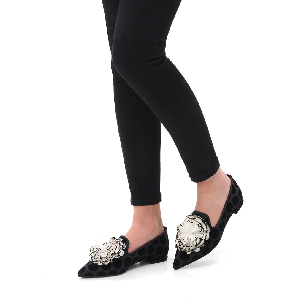 Bianca|שחור|נעלי בובה|נעלי בלרינה|נעליים שטוחות|נעליים נוחות|ballerinas