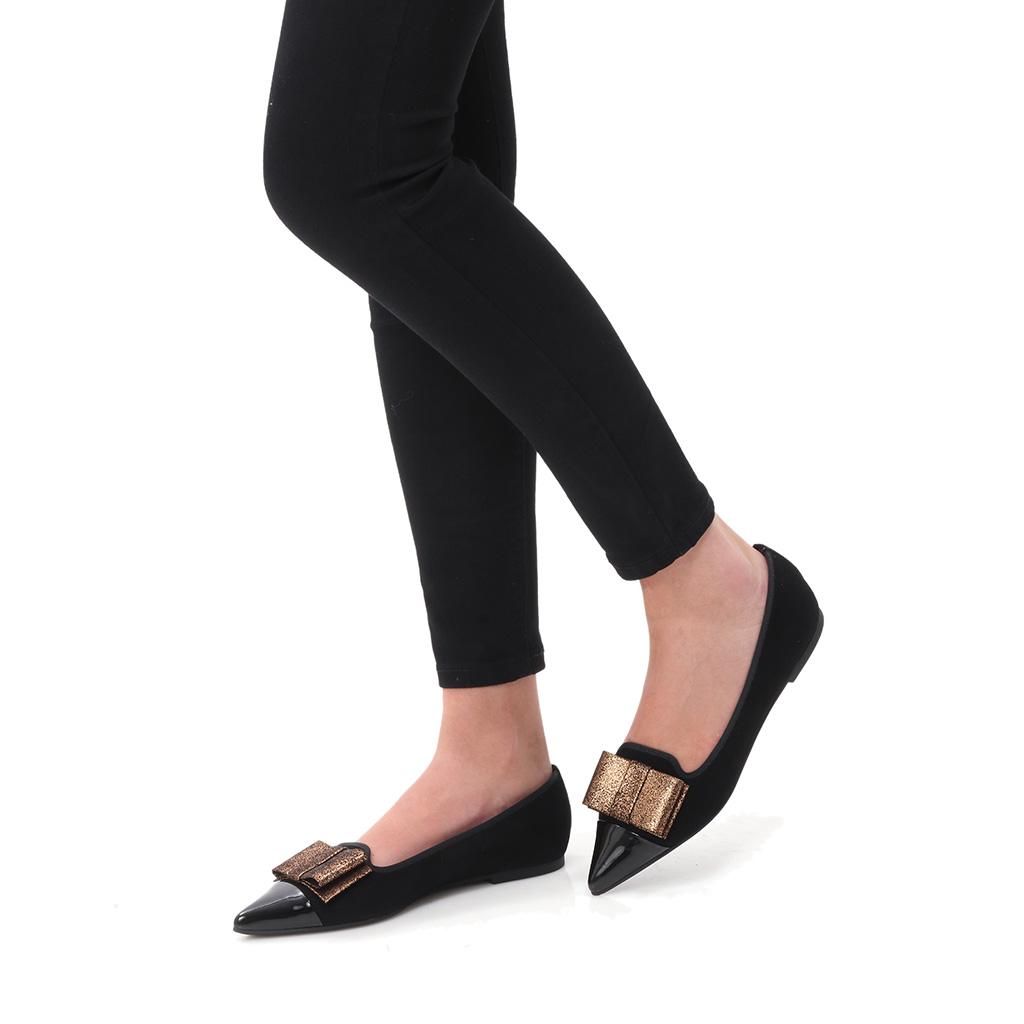 Jolene|שחור|נעלי בובה|נעלי בלרינה|נעליים שטוחות|נעליים נוחות|ballerinas