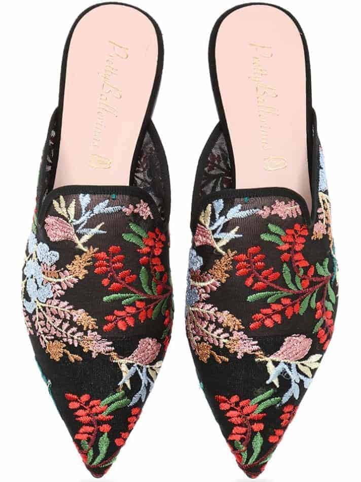 Floral Mule|שחור|אדום|ירוק|כפכפים|מיולז|כפכפי מיולז|Mules
