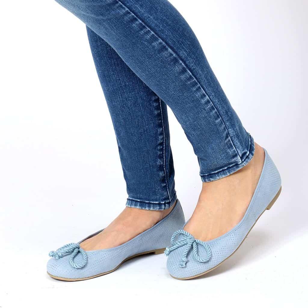 Water Drops Rosario|כחול|כסף|נעלי בובה|נעלי בלרינה|נעליים שטוחות|נעליים נוחות|ballerinas