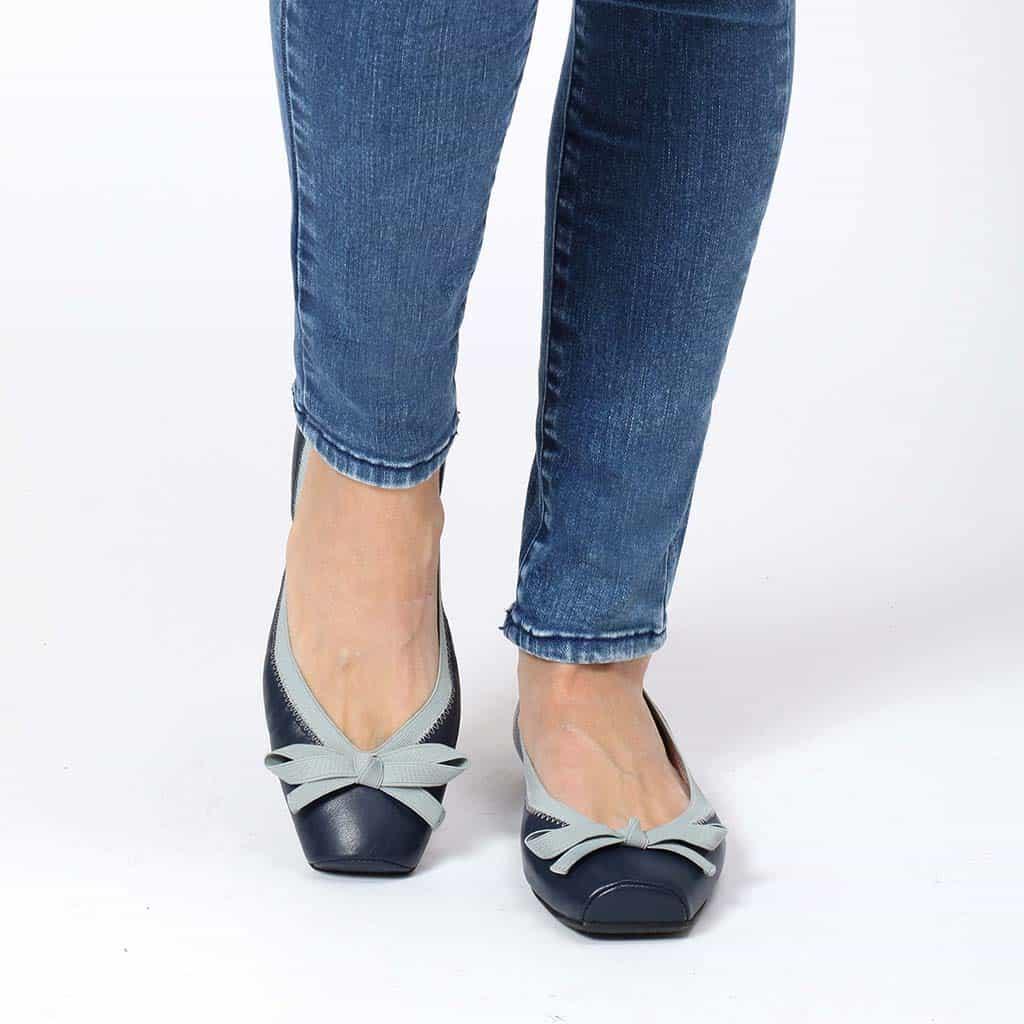 Classic Blue Point כחול נעלי בובה נעלי בלרינה נעליים שטוחות נעליים נוחות ballerinas