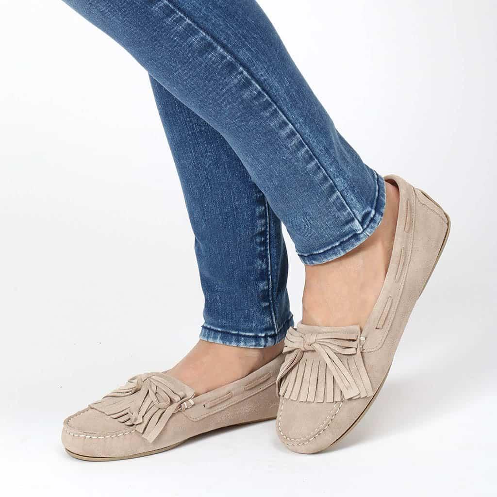 Sandy|חום|כאמל|ניוד|מוקסין|מוקסינים|נעליים שטוחות|moccasin