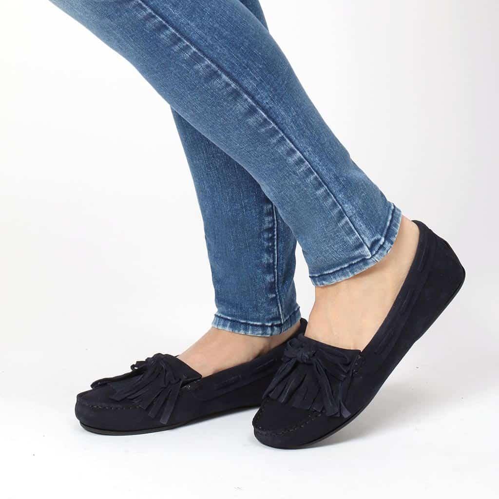Naomi|כחול|מוקסין|מוקסינים|נעליים שטוחות|moccasin