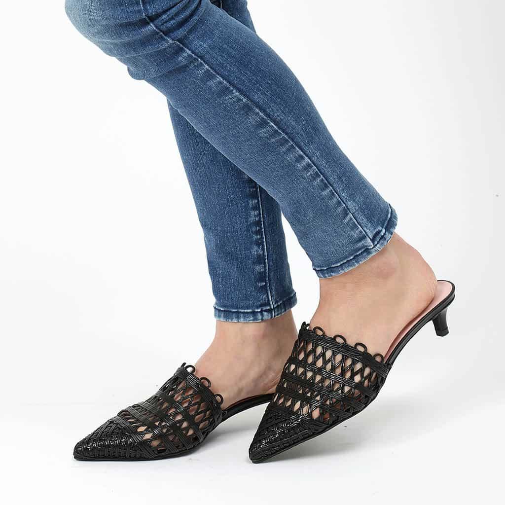 Night Weave שחור כפכפים כפכפים לנשים עקב עקבים Heels