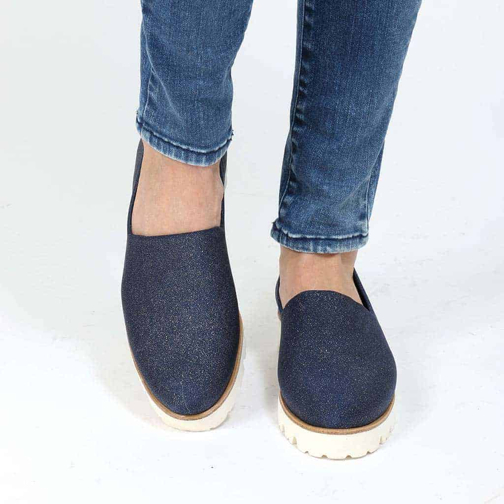 Jadore|כחול|נעלי בובה|נעלי בלרינה|נעליים שטוחות|נעלי פלטפורמה|ballerinas