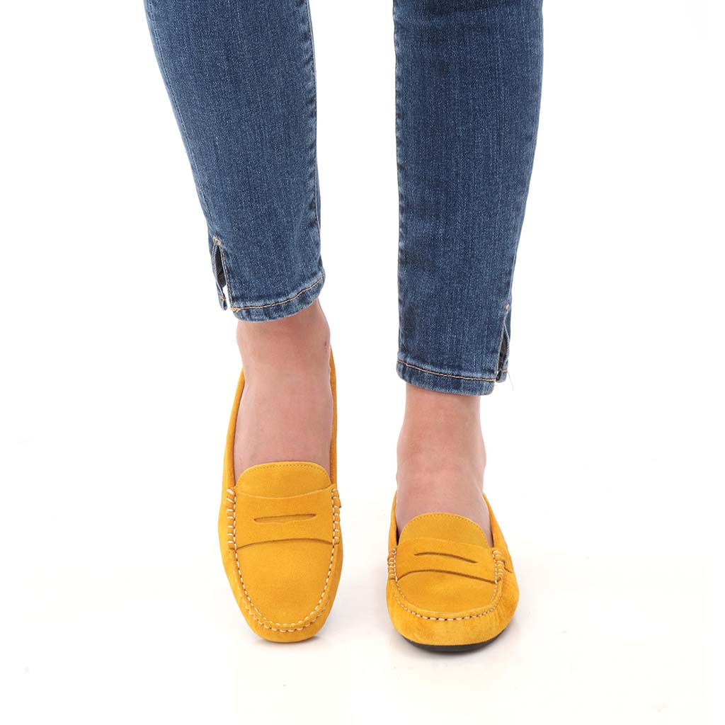 Raegan|צהוב|מוקסין|מוקסינים|נעליים שטוחות|moccasin