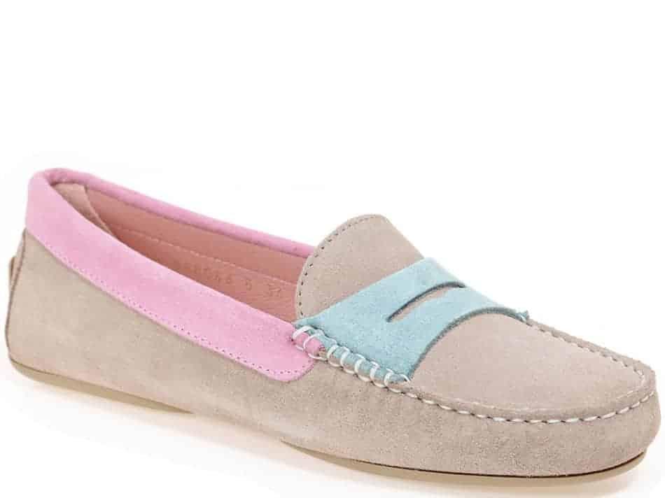 Sky Tricolor|חום|כחול|ירוק|מוקסין|מוקסינים|נעליים שטוחות|moccasin